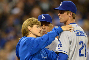 Los Angeles Dodgers' Zack Greinke Breaks Collarbone In Brawl