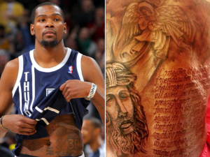 OKC Thunder's Kevin Durant Reveals Giant Back Tattoo