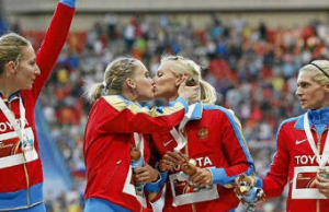 Female Russian Athletes Kiss After Winning Gold At 2013 World Athletics Championships